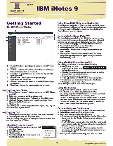 IBM iNotes 9 Quick Source Reference Guide