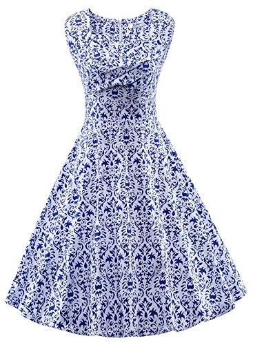 (VOGVOG Women's 1950s Retro Vintage Cap Sleeve Party Swing Dress, Blue White Porcelain, Small)