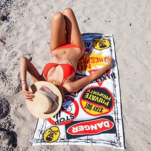 - Luxury Thick Microfiber Pool Beach Towel | Beach Blanket | Quick Fast Dry | Woven Jacquard for Soft, Fade Proof Beach & Pool Use Outdoor Travel Yoga Mat (Warning Sign)