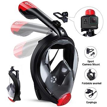 HENGBIRD Máscara de Buceo Integral Máscara de Esnórquel Anti-Vaho Anti-Fuga Gafas Cara Completa 180 ° Visible Apoyo Camara Deportiva (Black L/XL): ...