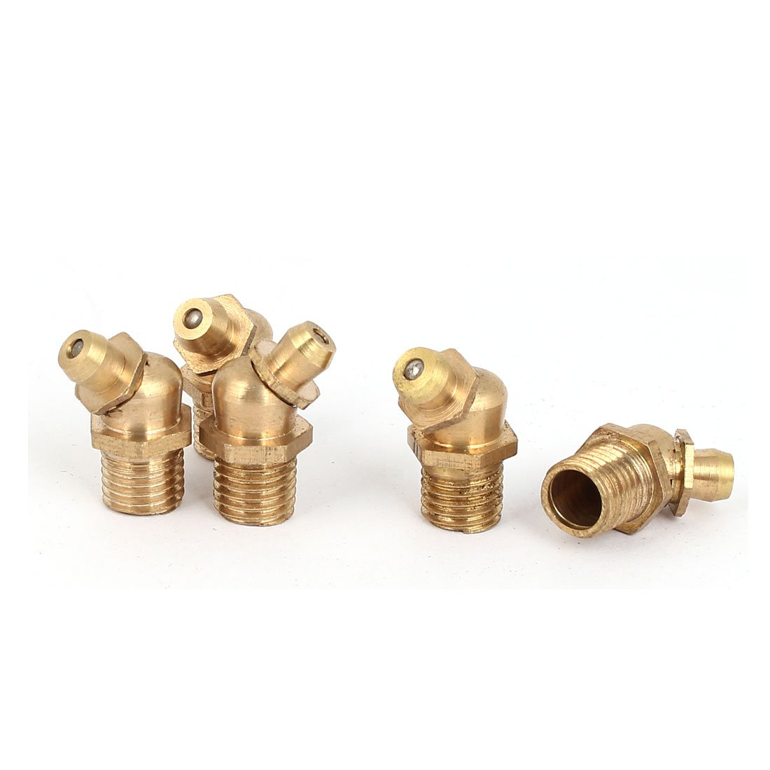 uxcell M8 Male Thread 1.0mm Pitch 45 Degree Brass Grease Nipple Fittings 5 Pcs a16040100ux0172