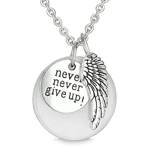 Angel Wing and Inspirational Never Never Give Up Amulet White Snowflake Quartz Pendant 18 Inch Necklace