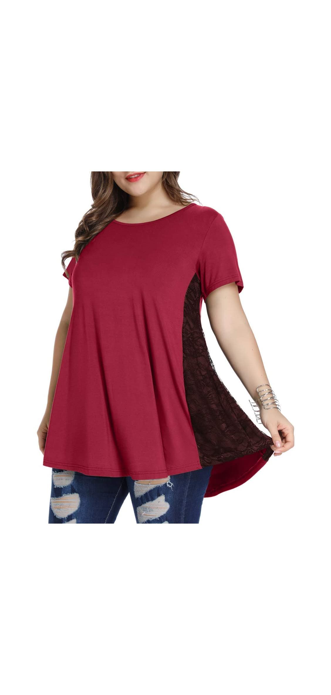 Women Lace Tunic Top Short Sleeve Flare T Shirt For