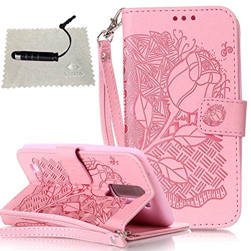 Funda Piel con Tapa para LG Stylus 2 LS775,Flip Fina Case de Cuero LG Stylus 2 LS775, TOCASO Billetera para Personalizada Repujado Flor Campánula Skull Pattern Completa Wallet Ultra Slim Cartera Carca Rosa 2