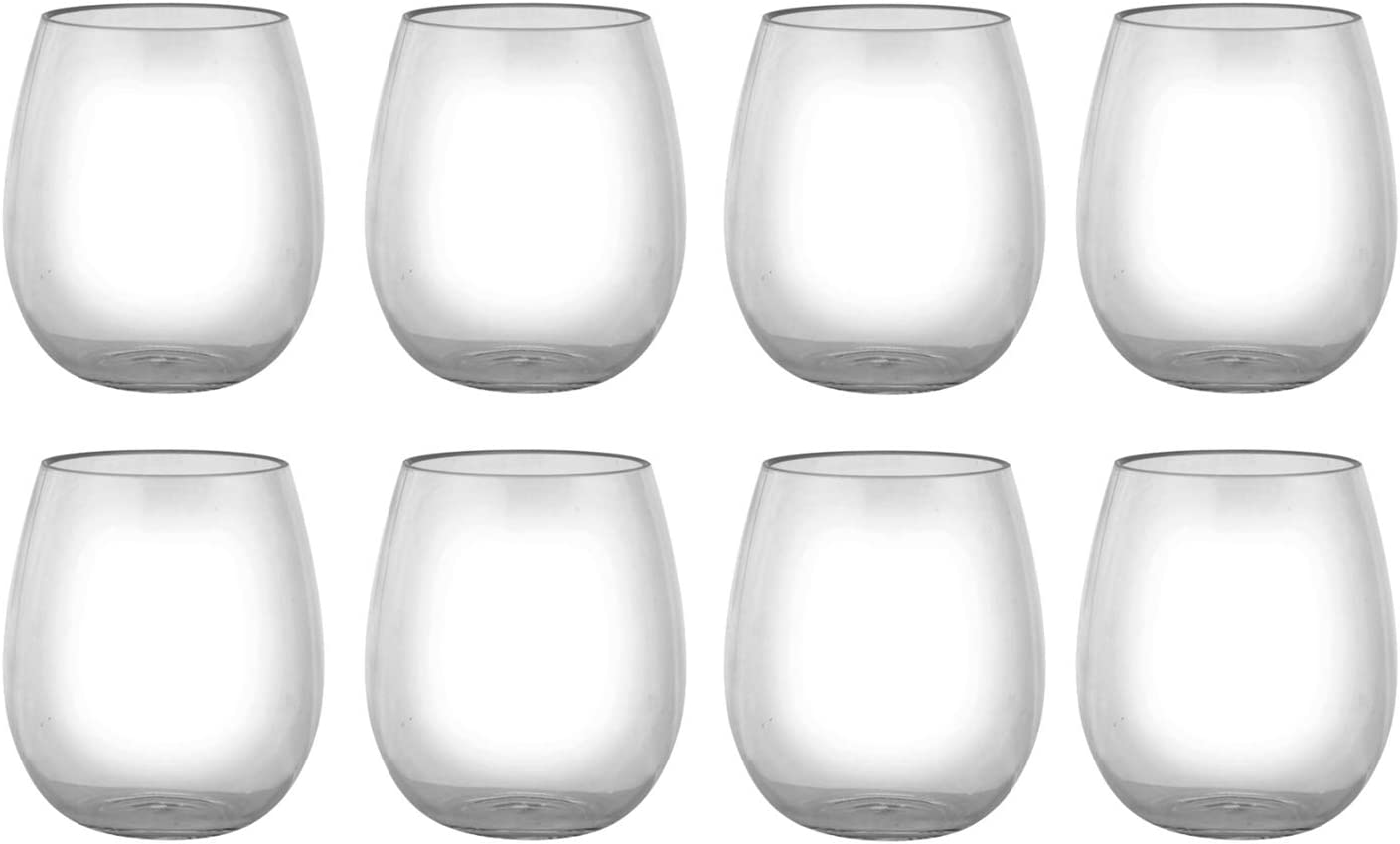 18-ounce Acrylic Glassses Stemless Wine Glasses, set of 8 Clear - Unbreakable, Dishwasher Safe, BPA Free