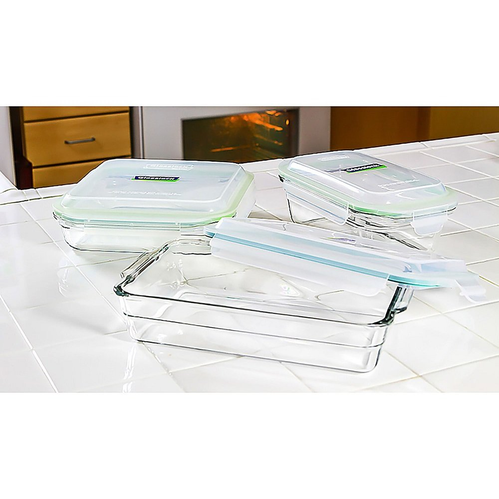 Glasslock 6 Piece Casserole Container Set - Dishwasher, Microwave, Freezer, and Oven Safe