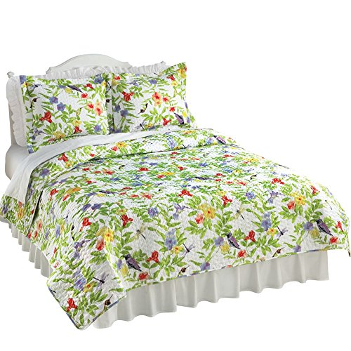 Floral Hummingbird Garden Quilt, Multi, Twin