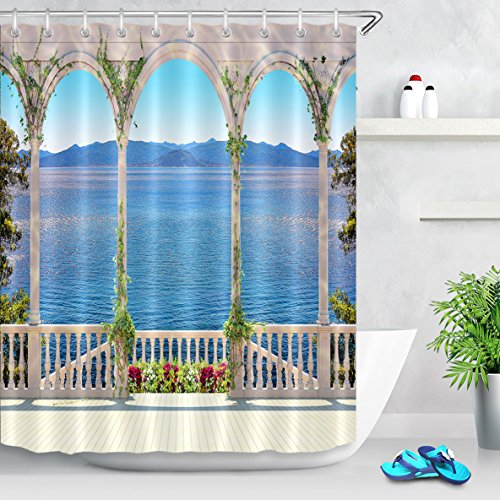 Waterfall Dolphin (LB Palace Balcony to Lake Mountain Scene Shower Curtain Set, Relaxing Summer Landscape Bathroom Decor, 70x70 Shower Curtain Set Waterproof Mildew Free)