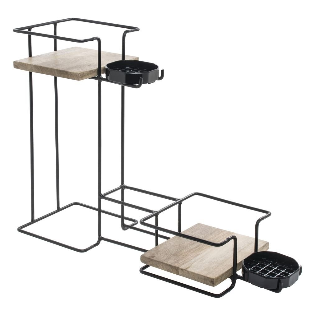 Expressly HUBERT Mango Wood & Wire Double Stack Airpot Holder - 7 1/2''W x 22 1/2''D x 16 5/8''H