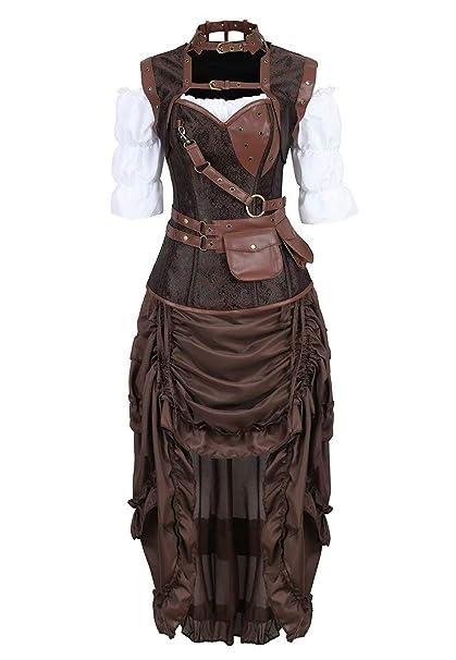 Corset Steampunk Mujer Bustier Sexy gotico Pirata Bordado Cuero ...