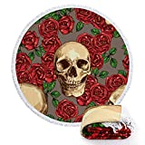 Beach Towels Round Roundie Rose Skull Blankets Microfiber Thick Terry Oversized Yoga Picnic Mat Ultra Soft Hanging Tablecloth Decorations With Colorful Fringe Tassels