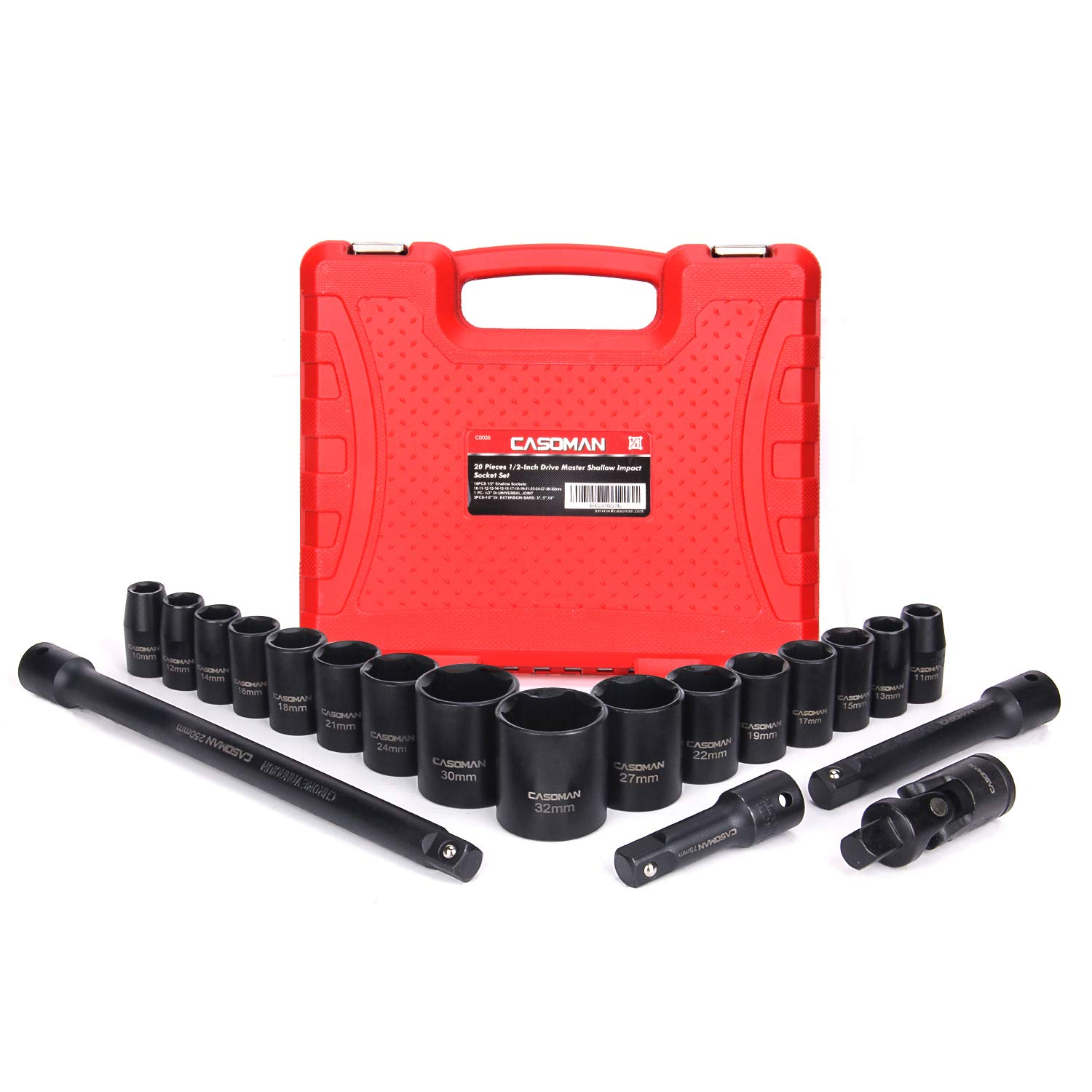 CASOMAN 1/2-Inch Drive Shallow Impact Socket Set, Metric, 10mm-32mm, CR-V, 6-Point, 20-Piece 1/2'' Shallow Sockets Set with Extension Bar and Universal Joints by CASOMAN