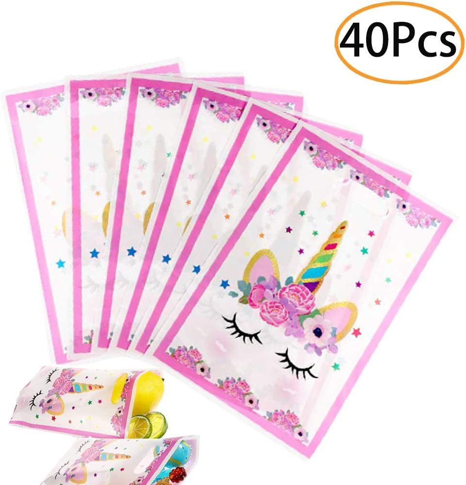 40pc Plastic Unicorn Party Bags Girls Gift Goodie Treat Bags Kids Unicorn Party Favor Supplies Decoration for Unicorn Themed Birthday Party, Baby Shower