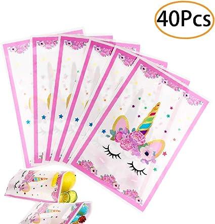 Amazon.com: 40 bolsas de plástico con diseño de unicornio ...