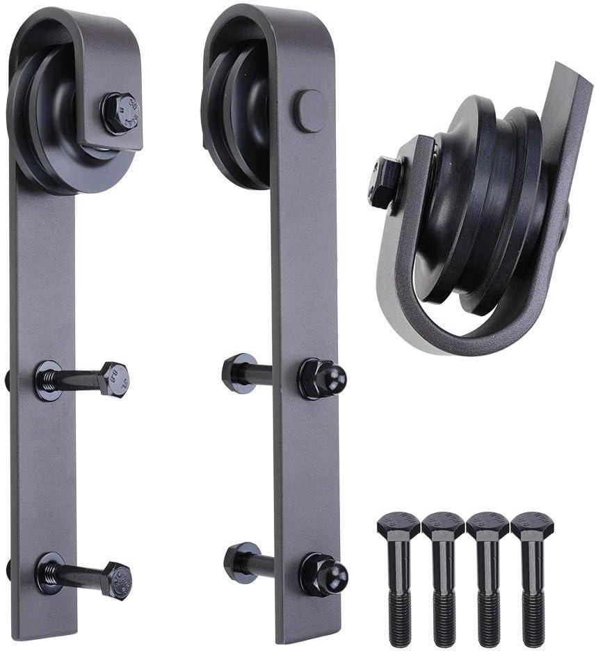 2 Pack WBHome Sliding Barn Door Hardware Rollers J Shape Hangers Antique Style Black