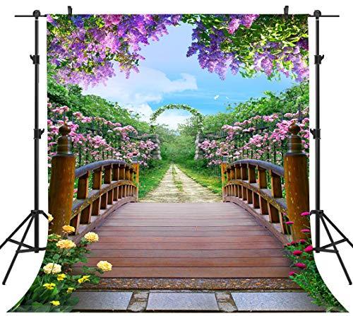 - PHMOJEN Colorful Flowers Blossom Photography Backdrop Wooden Bridge Floral Garden Background Vinyl 5x7ft Photo Shooting Props HXPH010