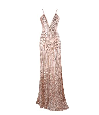 ceb164041e LinlinQ Women s Sexy V-Neck Off The Shoulder Party Dress Sequin Split Maxi  Dress Gold