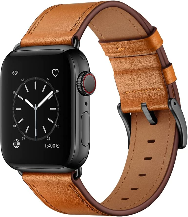 OUHENG Compatible with Apple Watch Band 44mm 42mm, Genuine Leather Band Replacement Strap Compatible with Apple Watch Series 6/5/4/3/2/1/SE, Brown Band with Black Adapter