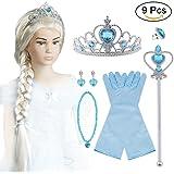 Vicloon Bonwish Nuovi Costumi da Principessa Set di 6 Pcs Dono - Parrucca,Diadema,Guanti,Bacchetta Magica,Orecchini,Anello da 3 a 10 Anni