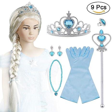 Vicloon Princesa Vestir Accesorios Regalo ConjuntoVicloon Princesa Vestir Accesorios Regalo Conjunto - Peluca/Corona/