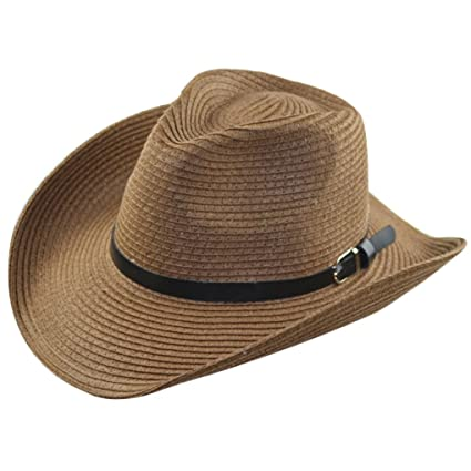 MuLuo Casual Men Sun Hats Straw Beach Summer Cap Jazz Hats Wide Brim Cap  Beachwear Coffee c2892bd24f3