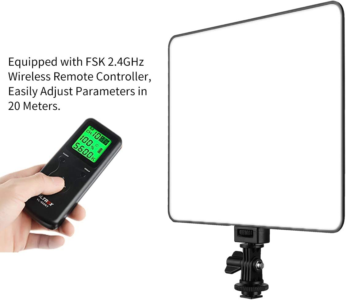 Ultra-Thin Dimmable Studio Photography Lighting Panel with Hot Shoe Adapter//Remote Controller//AC Adapter for Video Shooting,Interview,Portrait,YouTube. VL-200T Portable LED Video Light