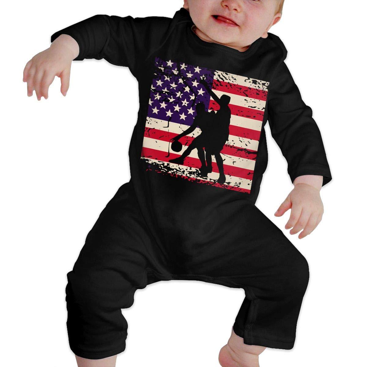 Vintage American Flag Basketball Baby Boy Girls Long Sleeve Jumpsuits Creeper Jumpsuits