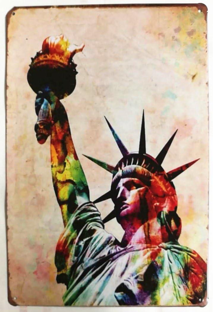 Charming Crew 復古調 ブリキ看板 アメリカン ガレージ 世界遺産 自由の女神 ニューヨーク 復刻版 アンティーク風 雑貨 おしゃれ インテリア Statue of Liberty