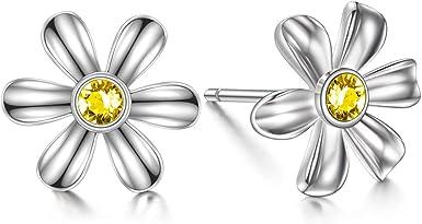 Daisy Sterling Silver Earrings For Women For Girls