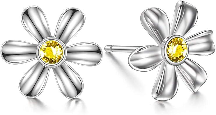 925 Sterling Silver Daisy Flowers Stud Earrings For OL Style Women Jewellery