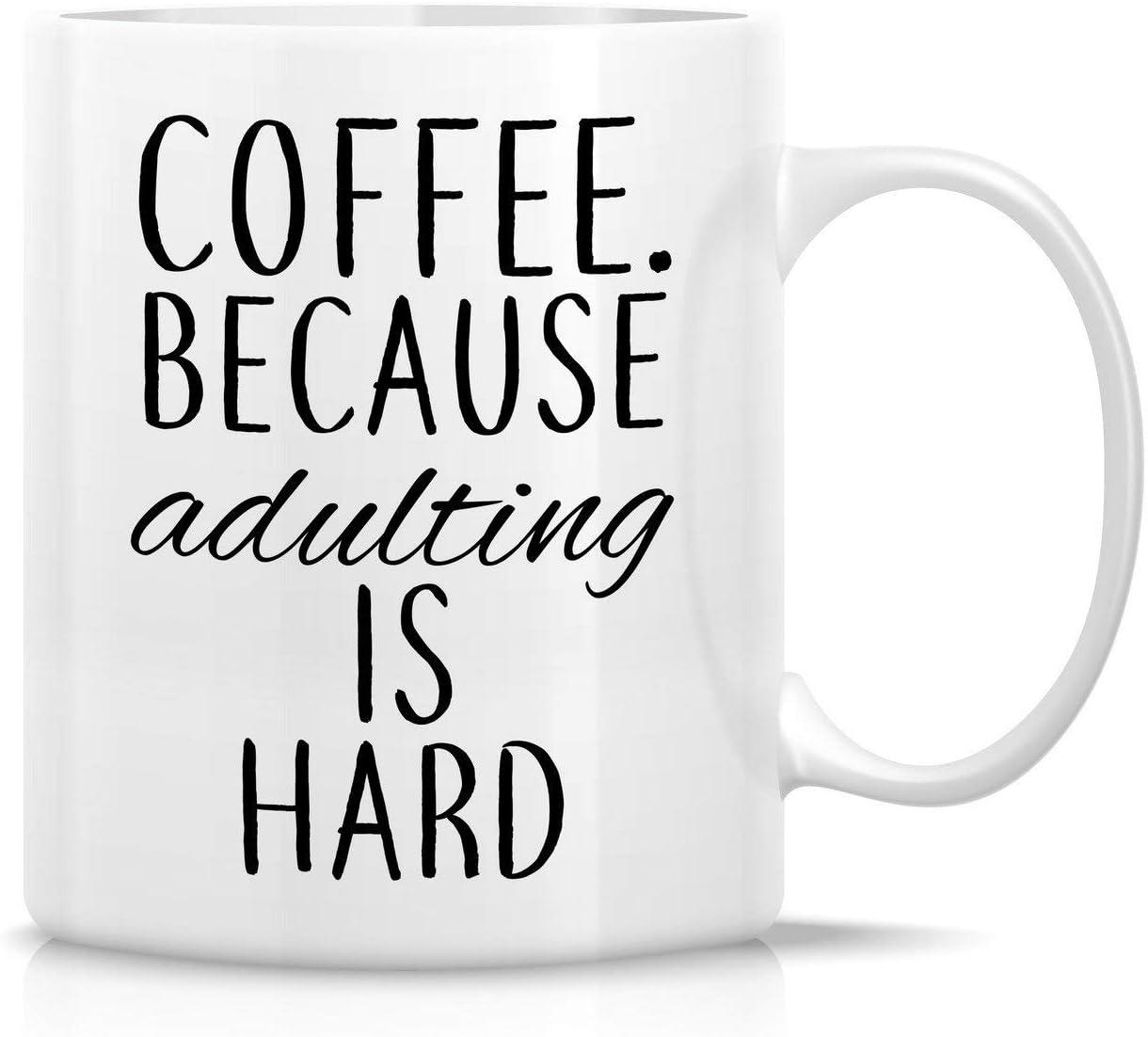 Porcelain Cup Café. Porque Adultar Es Difícil Novedad Amigos Regalo Único Cumpleaños 330 Ml Taza De Porcelana Taza De Café Duradera Oficina De Cerámica