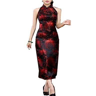 63edf68d2 Chinese Traditional Dresses Cheongsam Long Qipao Halter Dress Backless Chinese  Dress Black S