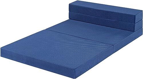Sleeplace 4 Inch Multi-Foldable I-Gel infused Memory Foam Mattress Topper Blue