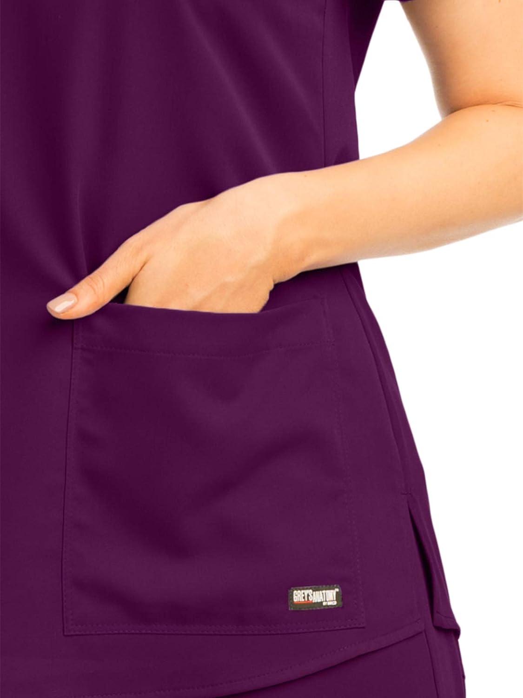 Greys Anatomy Womens Two Pocket V-Neck Scrub Top with Shirring Back