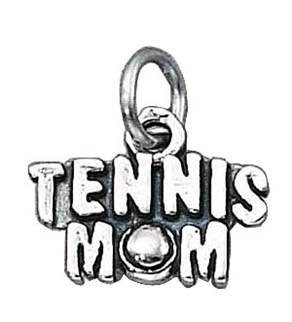 Sterling Silver 7 4.5mm Charm Bracelet With Attached TENNIS MOM Word Charm