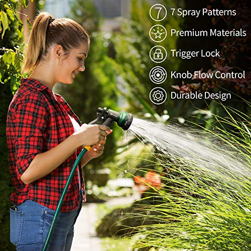 AUTOMAN-Garden-Hose-Nozzle,ABS Water Spray Nozzle with Heavy Duty 7 Adjustable Watering Patterns,Slip Resistant for Watering Plants,Lawn& Garden,Washing Cars,Cleaning,Showering Pets & Outdoor Fun.