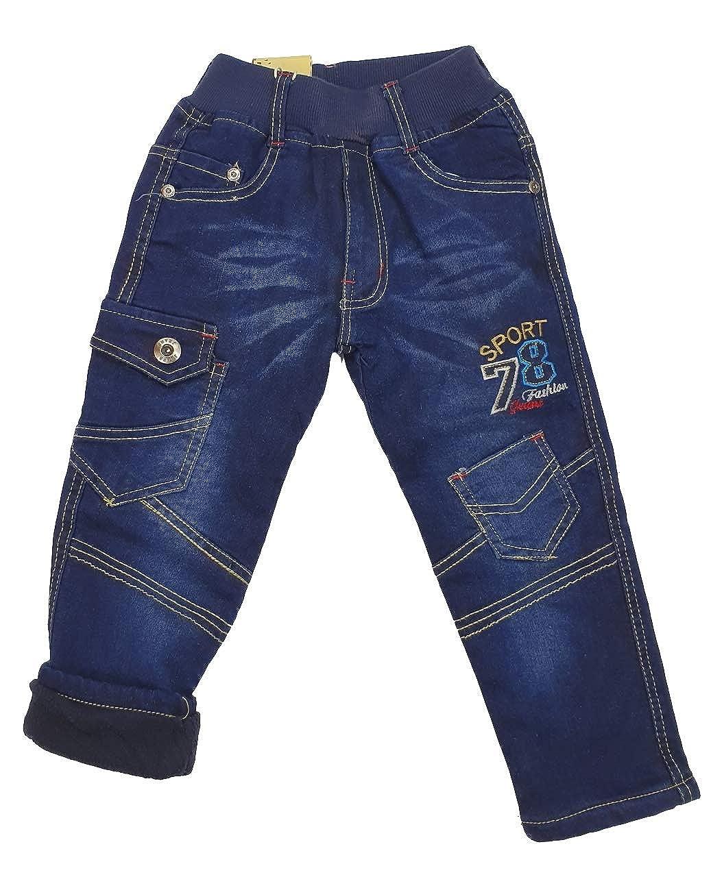 Fashion Boy warme Jungen Thermohose JTn80e gef/ütterte Winterhose Jeanshose