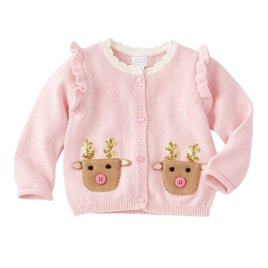 Mud Pie Kids Girls Christmas Sparkle Pink Reindeer Cardigan Sweater 3-6 Months by Mud Pie
