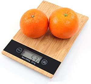 Food Scale Kitchen Scale Bamboo Wood LED Display Easy To Operate Unit Conversion Can Be Hanged Multifunctional Household Kitchen 1 Piece Pack