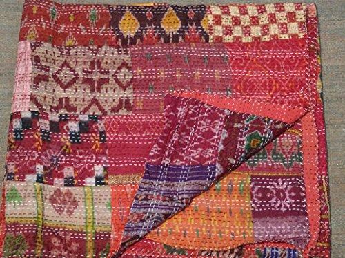 (Patola Silk Patch Work Kantha Quilt , Kantha Blanket Bedspread, Patch Kantha Throw, King Kantha, Kantha Rallies Indian Sari Quilt, Size 90