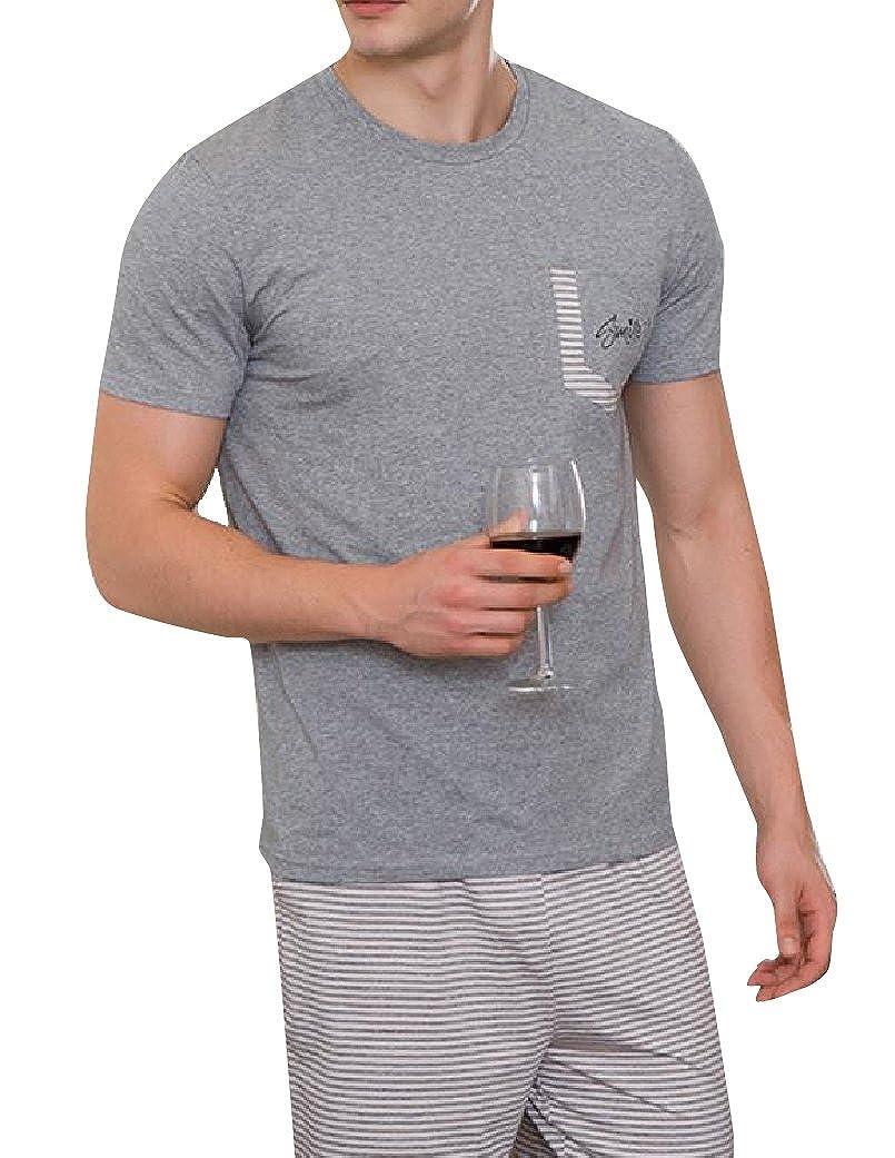 SportsX Mens 100/% Cotton Short-Sleeve Underwear Half Pants Pj Set