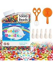 TOOP Waterparels, gelparels, 50.000 stuks, bevat 1 holle lepel, 1 trechterlepel, 5 ballonnen, kleurrijke parels, waterparels voor kinderen, bloemenparels, voor vazenvullers, planten, bloemen, wooncultuur (kleurrijk)