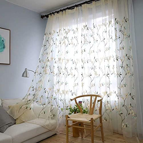 MacoHome Floral Embroidery Sheer Curtain White Bedroom Voile Curtain Decorative Grommets Living Room Window Drape