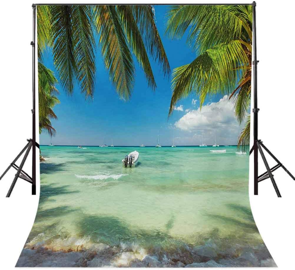 Tropical 10x12 FT Photo Backdrops,Surreal Sea Surrounded by Palm Tree Leaves Scenic Nature Summertime Background for Baby Birthday Party Wedding Vinyl Studio Props Photography Fern Green Turquoise Bl