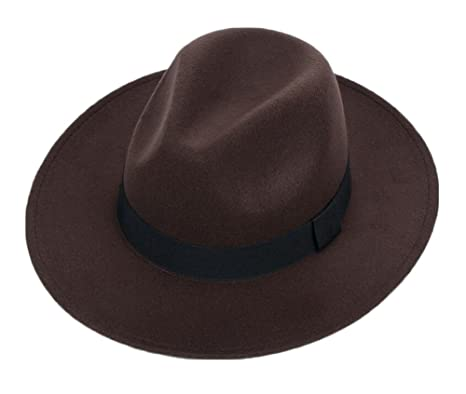 04bd048a3 Amazon.com: East Majik Elegant Wide Brim Fedora Hat - Coffee Color ...