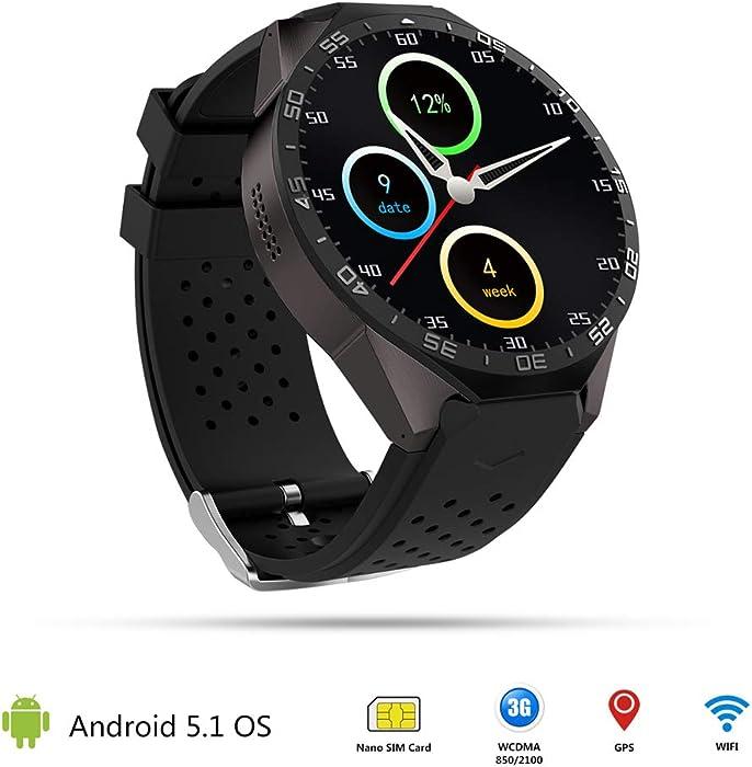 prettygood7 - Reloj inteligente 3G Android de cuatro núcleos, 4 GB, Bluetooth, WiFi, GPS, cámara SIM, puede llamar y escribir con pantalla táctil, ...