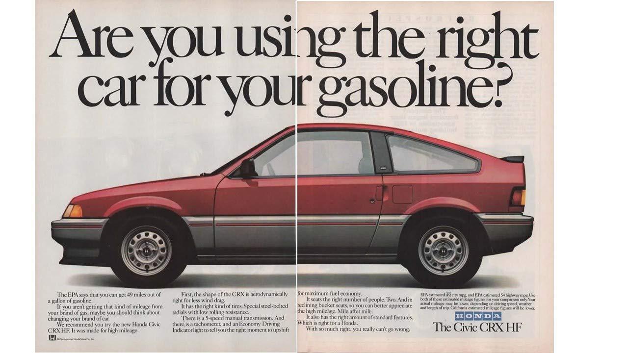Magazine Print Ad: Red 1985 Honda Civic CRX HF,