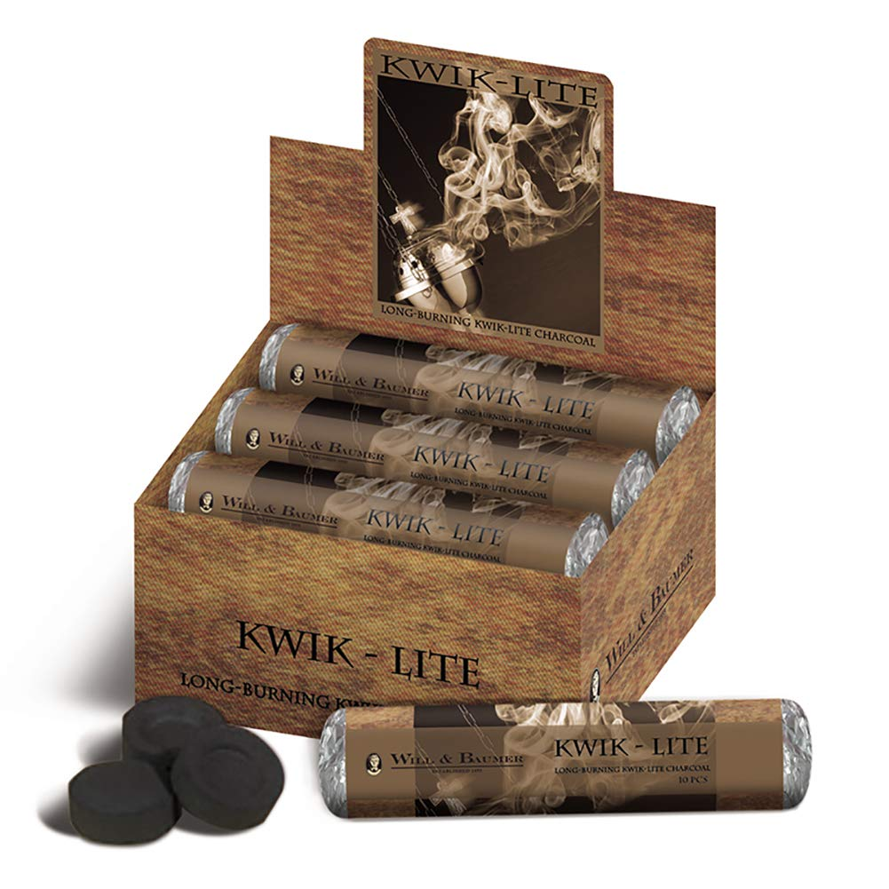 Kwik Lite Long-Burning Incense Charcoal Tabs for Church, Box of 80 Tabs