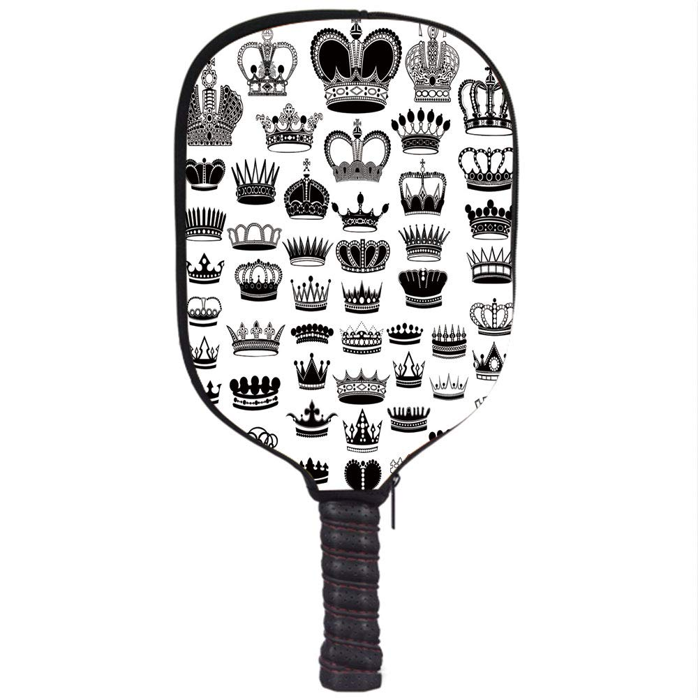 Amazon.com : iPrint Neoprene Pickleball Paddle Racket Cover Case, Queen, Big Silhouette Crown Set Monarchy Imperial Ruler Icons Antique Ancient Vintage, ...