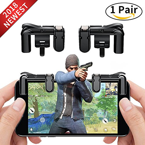 Price comparison product image Mobile Game Controller Cell Phone Game Fire Button Aim Key Game Joystick Smart Phone PUBG Knives Out Rules of Survival Gaming Shooter Trigger L1R1 for Android IOS(1 Pair)